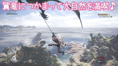 翼竜につかまって大自然を満喫